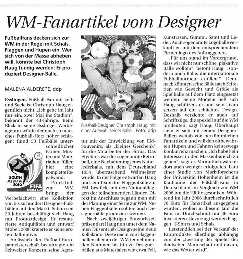 WM-Fanartikel vom Designer Südwest Presse