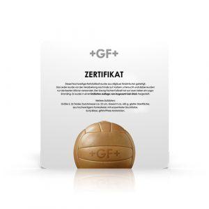 Limitierungszertifikat Georg Fischer Fußball Retro aus Leder
