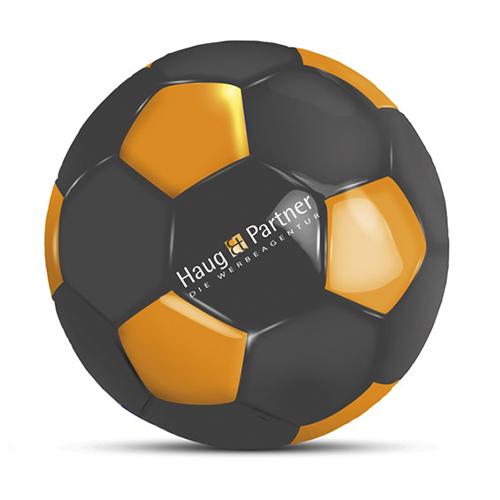Werbeball Haug und Partner zweifarbig mit aufgedrucktem Logo