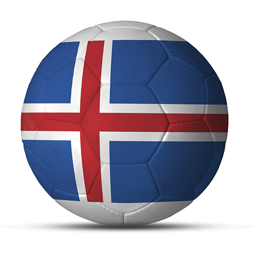Länderball Island Logoball blau rot mit Fahne