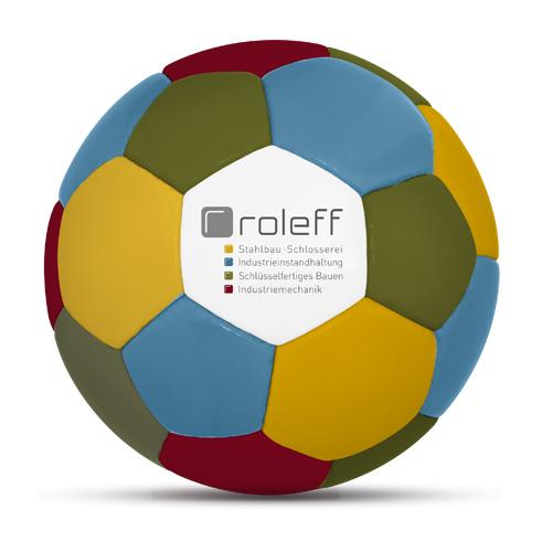 Werbeball Roleff Stahlbau und Schlosserei vierfarbig blau rot grün gelb