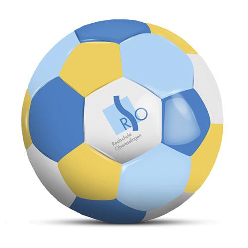 Werbeball RSO Oberesslingen vierfarbiger Firmen Fußball mit Logo