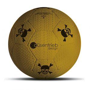 Designball Reifenprofil gelb mit schwarzen Totenköpfen aus Gummi