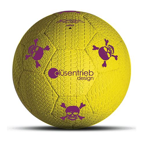 Designball Reifenprofil aus Gummi neon gelb mit lila Totenköpfen