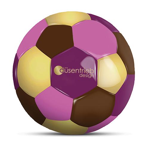 Werbeball Schokoladenfabrik vierfarbiger Fußball mit Logo