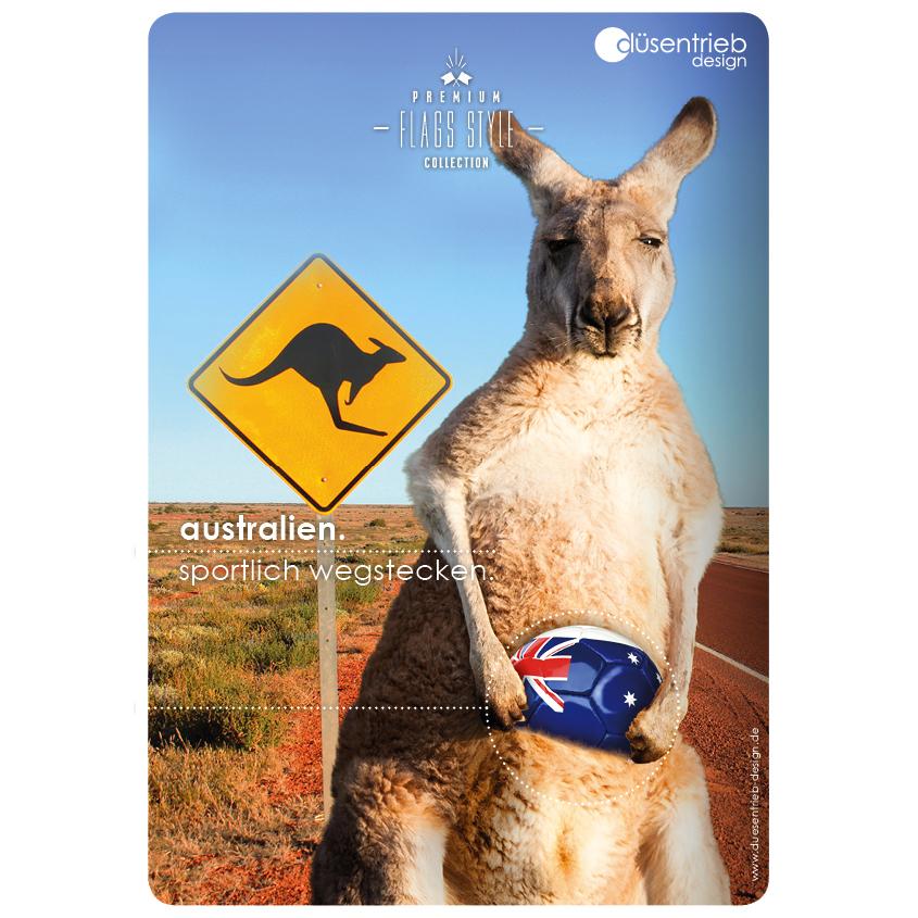 Plakat Australien sportlich wegstecken Känguru mit Fußball im Beutel
