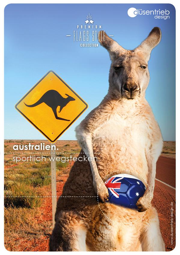 Plakat Australien sportlich wegstecken Känguru mit Flaggenfußball