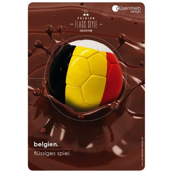 """Duesentrieb Fußball Plakat Design Belgien """"Flüssiges Spiel"""""""