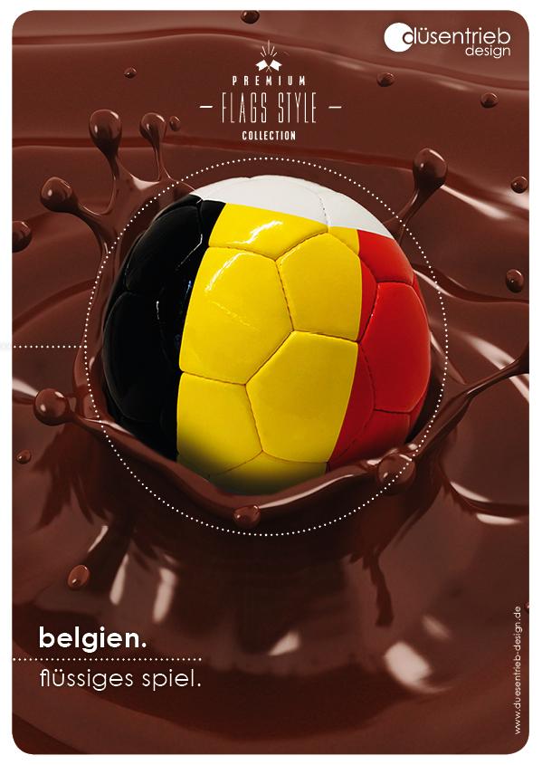 Plakat Belgien flüssiges Spiel Fußball in Schokolade
