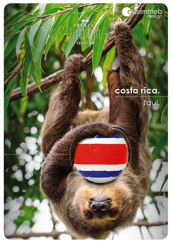 Plakat Costa Rica Faultier mit Fußball