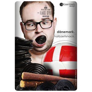 Plakat Dänemark Halbzeitsnack Mann mit Lakritze