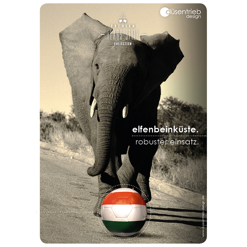 Plakat Elfenbeinküste robuster Einsatz Elefant und Länderfußball