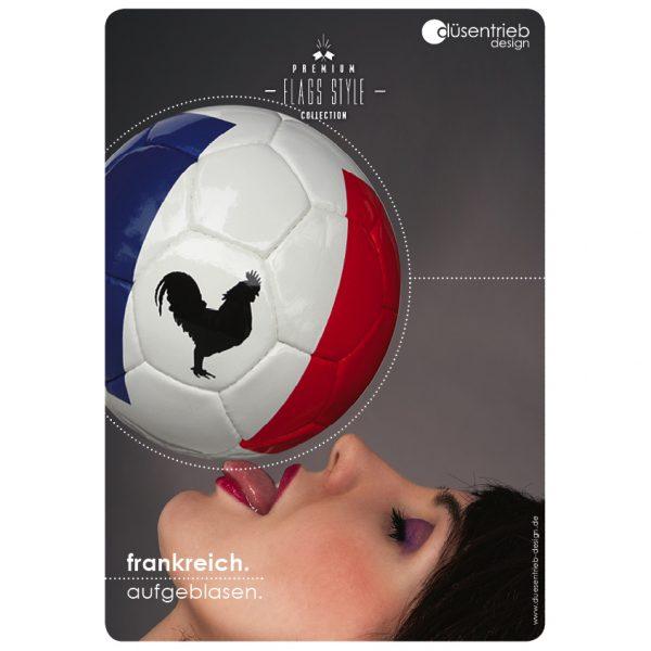 Plakat Frankreich aufgeblasen Frau Länderball