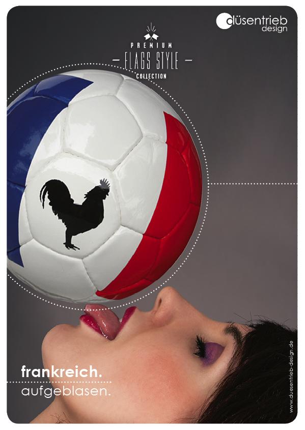 Plakat Frankreich aufgeblasen Länderball mit bedrucktem Logo