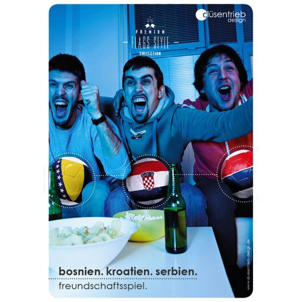 Plakat Freundschaftsspiel Fußballabend Bosnien Kroatien und Serbien