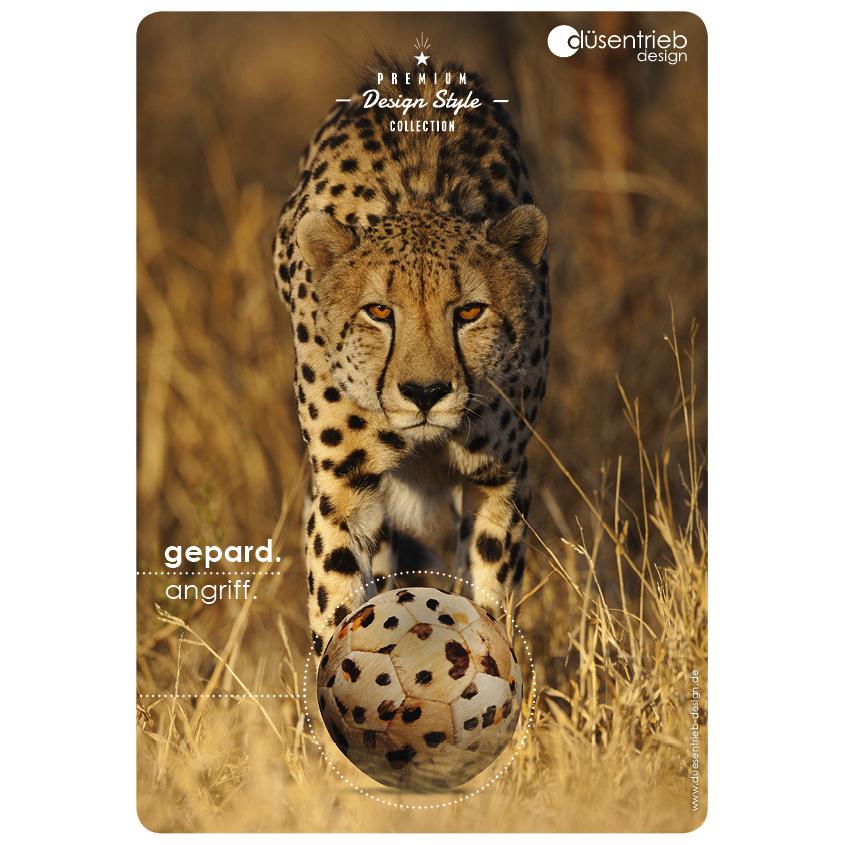 Plakat Gepard Angriff Fellball in gepardoptik