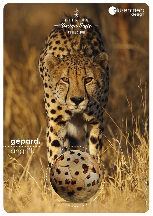 Plakat Gepard Angriff mit Fellball in Gepardenoptik