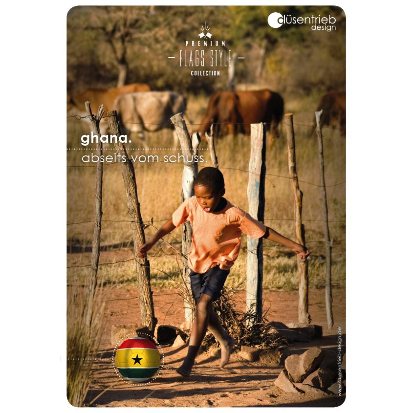 Plakat Ghana Abseits vom Schuss afrikanisches Kind spielt mit Länderball