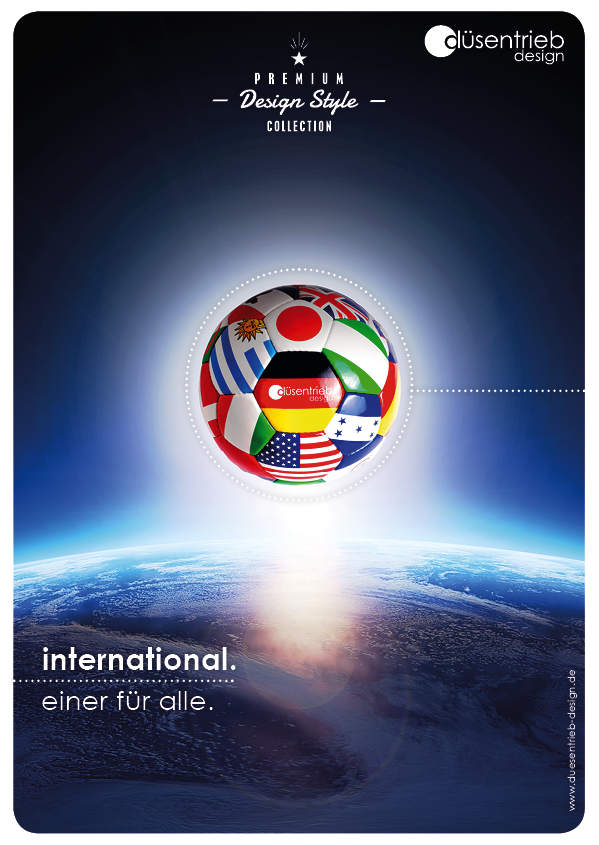 PLakat International Einer für Alle Länderball über Welt