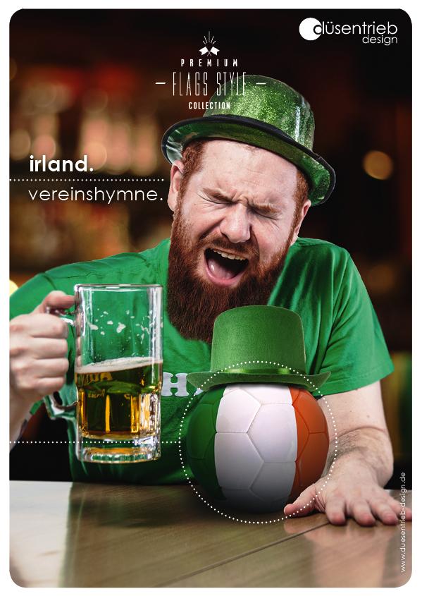 Plakat Irland Vereinshymne Ire mit bedrucktem Fußball