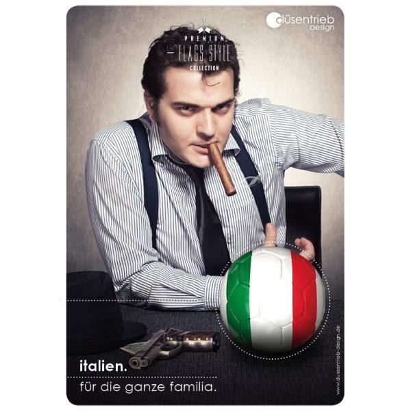 Plakat Italien für die ganze Familia Mafiaboss mit Länderball