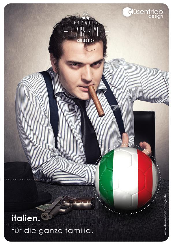 Plakat Italien für die ganze Familia Mafiaboss mit Ball