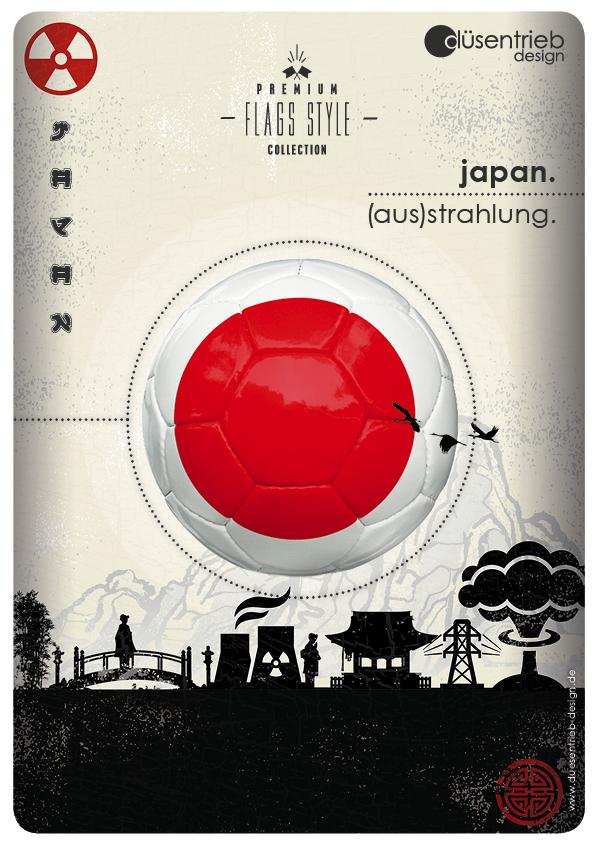Plakat Japan (Aus)strahlung Logoball in radioaktivem Umfeld