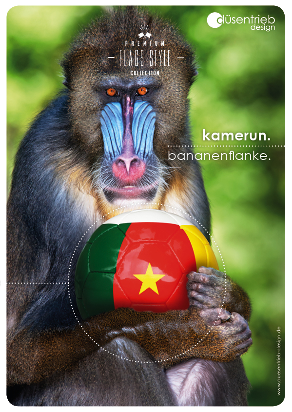 Plakat Kamerun Bananenflanke Affe mit Länder Fußball