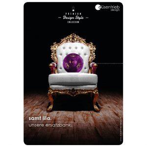 Plakat König unsere Ersatbank Desingball lila aus samt auf Thron