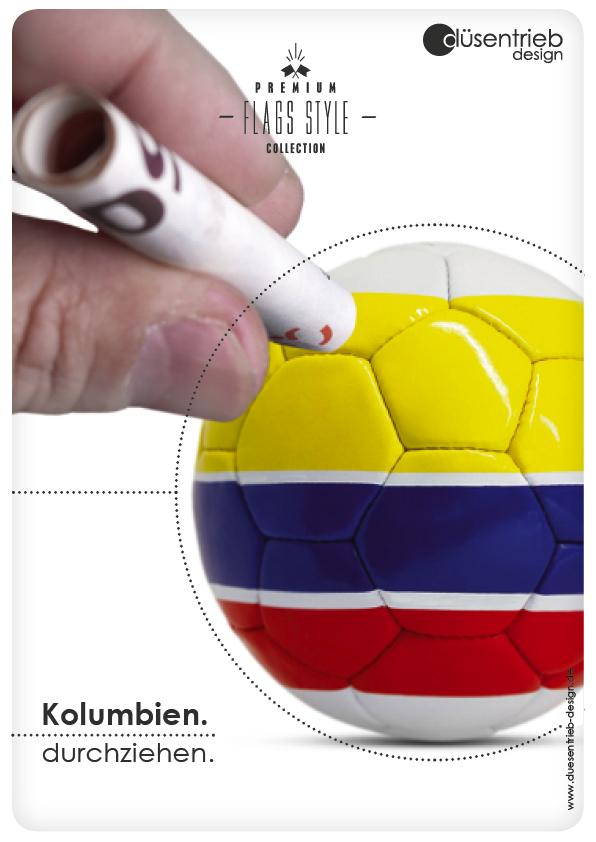 Plakat Kolumbien mit Fußball/Länderfußall