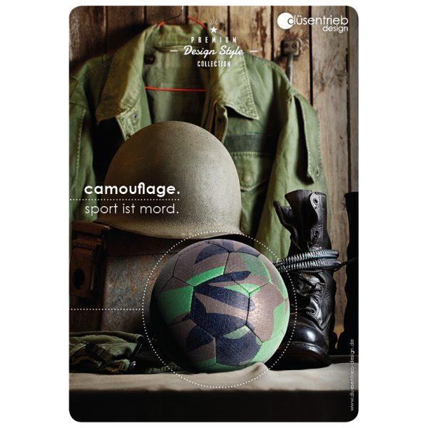 Plakat Camouflage Sport ist Mord Designball mit Militärausrüstung