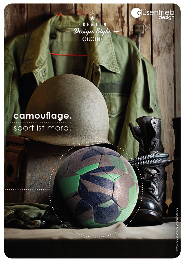 Plakat Camouflage Sport ist Mord Designball in Militärausrüstung