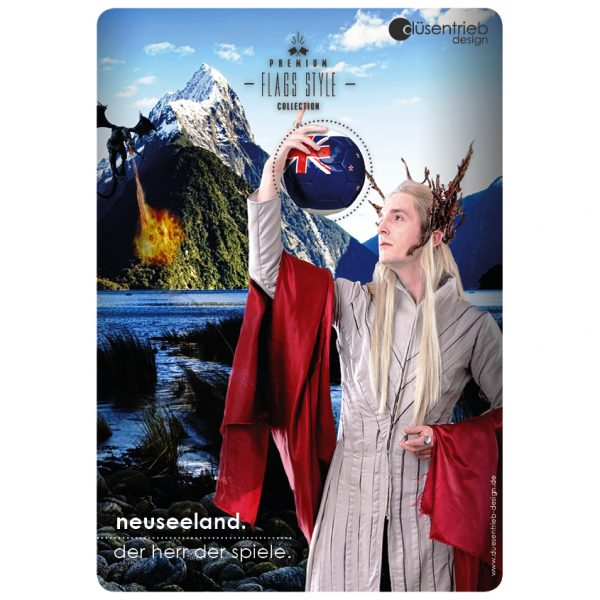 Plakat Neuseeland der Herr der Spiele Länderball in Herr der Ringe Umgebung