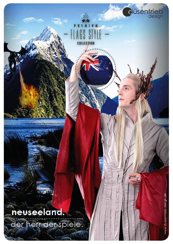 Plakat Neuseeland der Herr der Spiele Länder Fußball in Herr der Ringe Umgebung