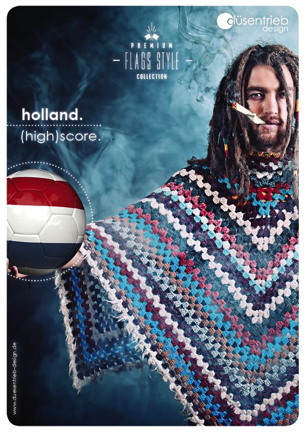 Plakat Niederlande (High)score Raucher mit Länderball