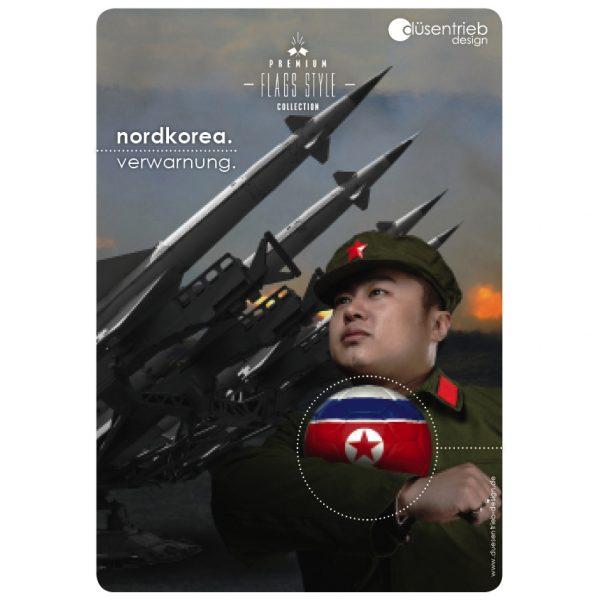 Plakat Nordkorea Verwarnung Soldat mit Waffen und Fußball