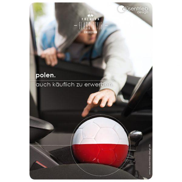 Plakat Polen auch käuflich zu erwerben Länderball Autodiebstahl