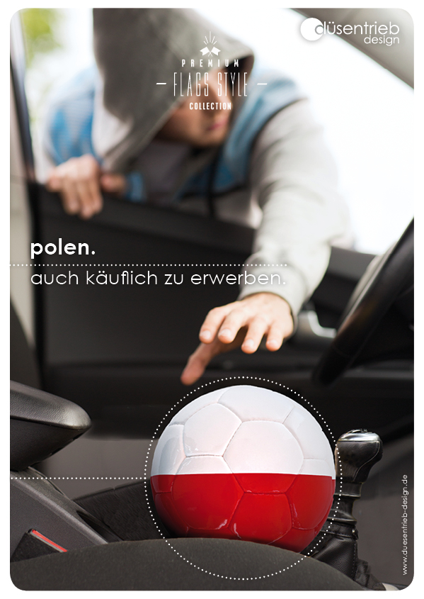 Plakat Polen auch käuflich zu erwerben, Länderball bei Diebstahl