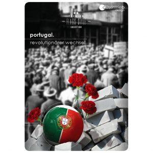 Plakat Portugal Revolutionärer Wechsel Länderball in Trümmern mit Rosen