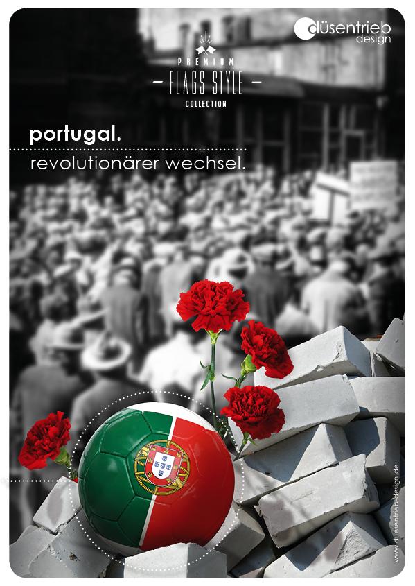 Plakat Portugal revolutionärer Wechsel Ball in Trümmern mit Rosen