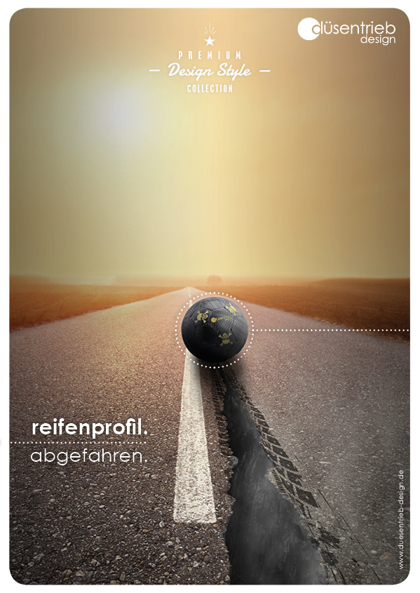 Plakat Reifenprofil abgefahren Designball auf Straße