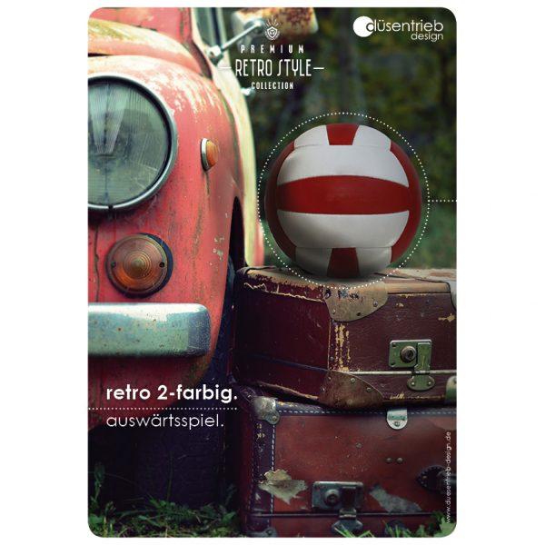 Plakat Retro Auswärtsspiel Designball 2-farbbig mit Oldtimer