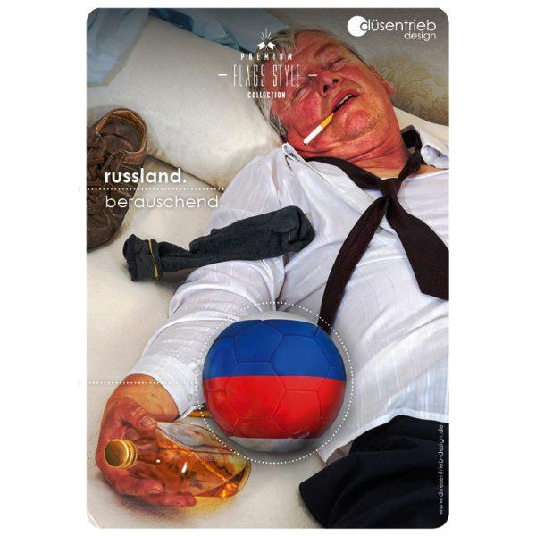 Plakat Russland Berauschend russischer Mann besoffen mit Länderball