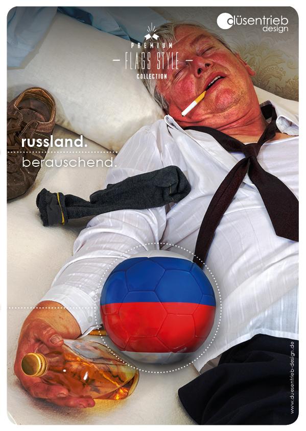 Plakat Russland berauschend besoffen auf dem Boden mit Länderball