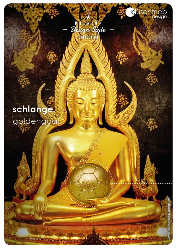 Plakat Schlange Goldengoal Designball in Schlangenoptik