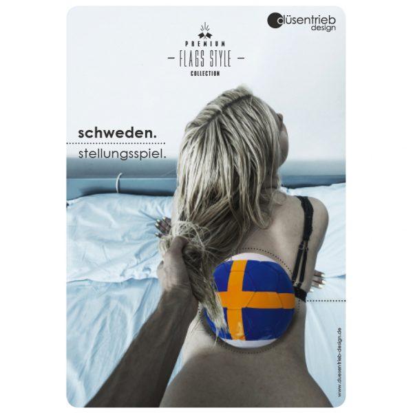 Plakat Schweden Stellungsspiel Blondine im Bett