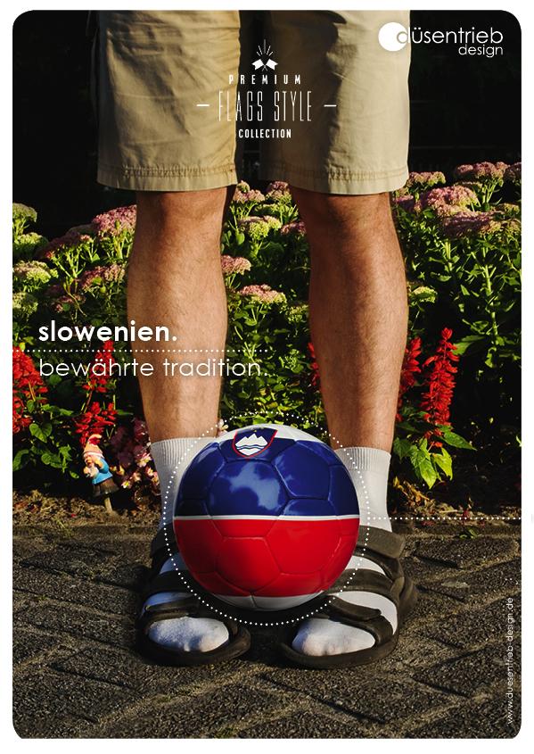 Plakat Slowenien bwährte Tradition typischer Slowake mit Länderball