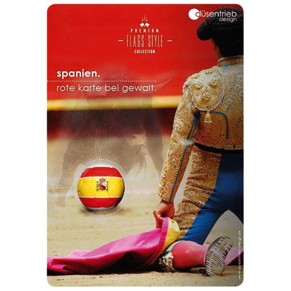 Plakat Spanien Rote Karte bei Gewalt Länderball Spanien im Stierwettkampf