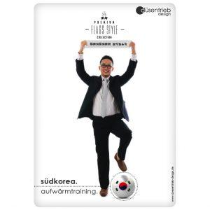 Plakat Südkorea Aufwärmtraining Mann mit Länderball
