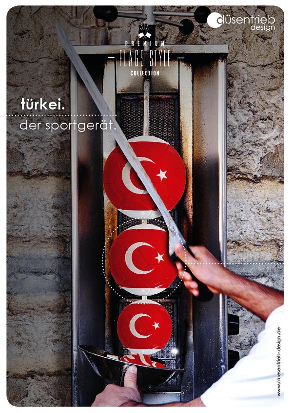 Plakat Türkei der Sportgerät Fußbälle am Dönerspieß